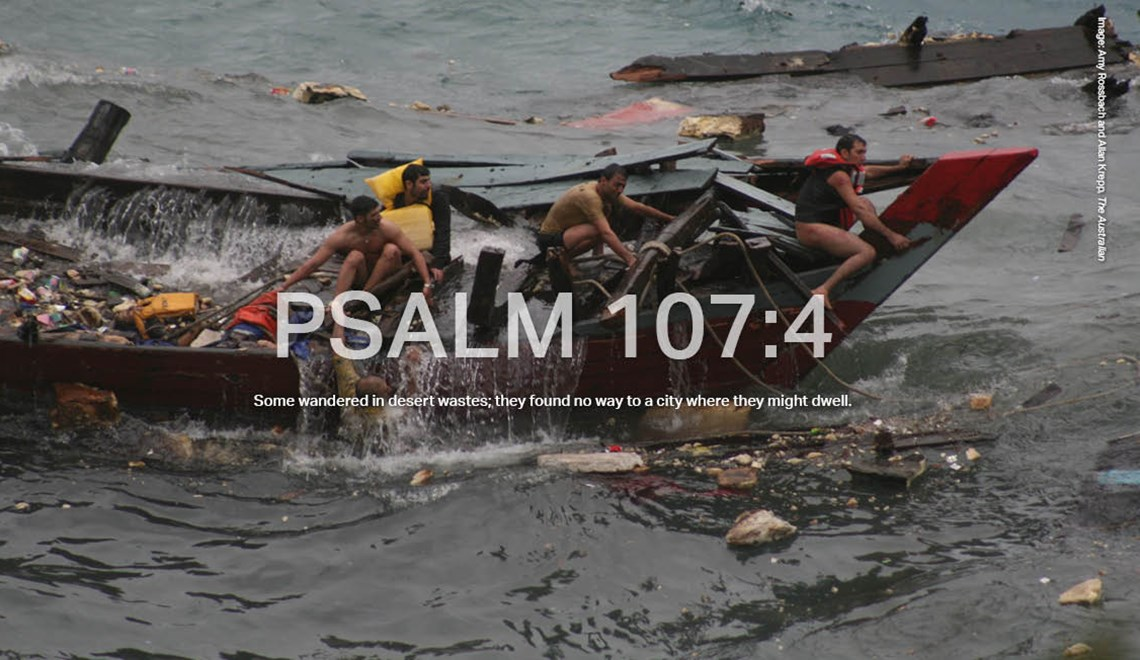 Asylum Seekers cling to the remains of their wooden fishing boat after it broke apart after crashing on to cliffs near Christmas Island. The 2010 disaster claimed 50 lives, with 42 people pulled from the water.
