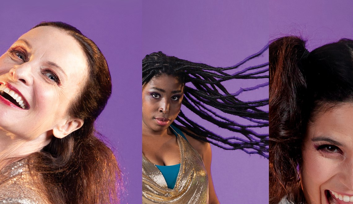 Spliced image of three dancers against purple background