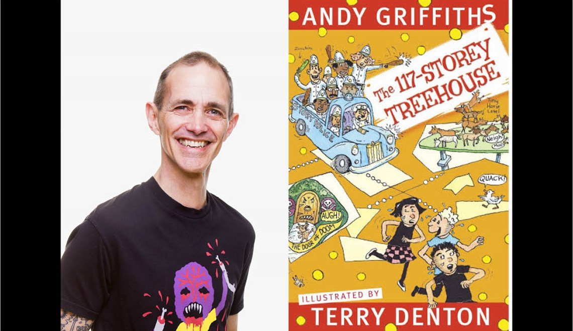 Andy Griffiths headshot alongside his latest book The 117-storey treehouse