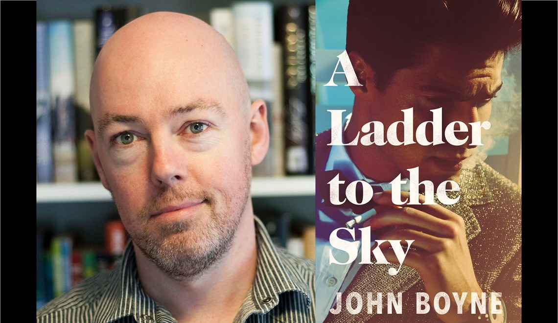 John Boyne's headshot alongside the cover of his book, A Ladder to the Sky