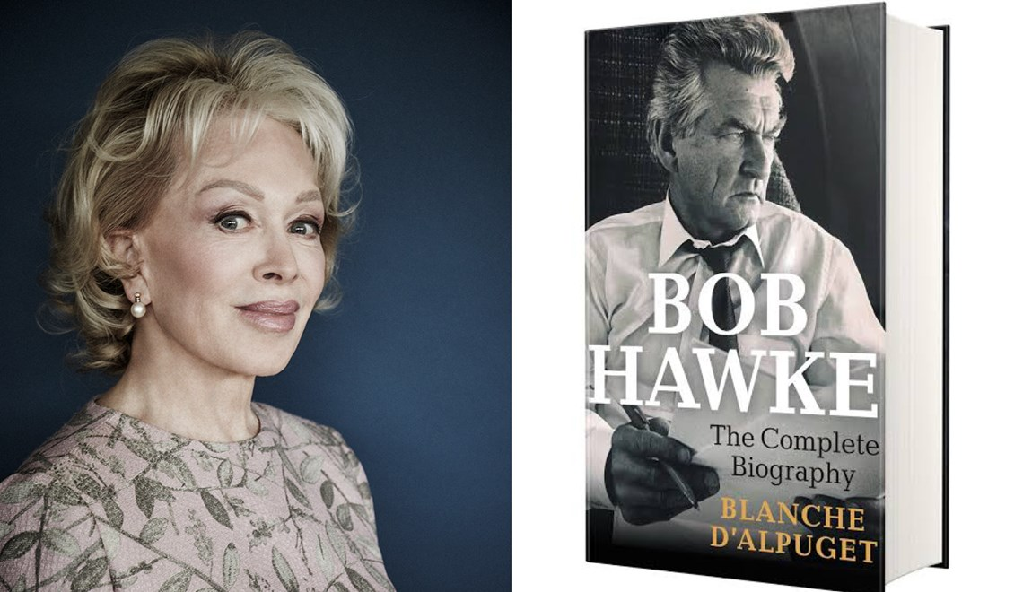 Blanche d'Alpuget's headshot alongside the cover of her book Bob Hawke: The Complete Biography