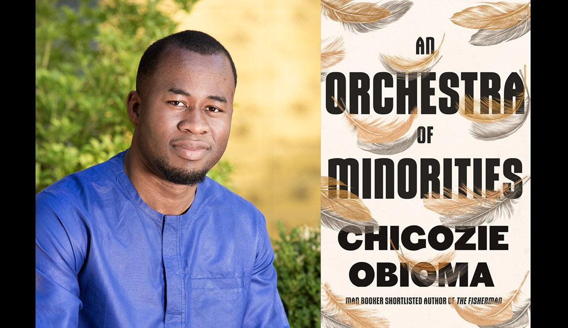 Chigozie Obioma's headshot alongside the cover of his book An Orchestra of Minorities