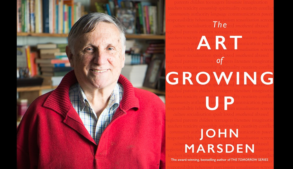 John Marsden's headshot alongside the cover of his book The art of Growing up