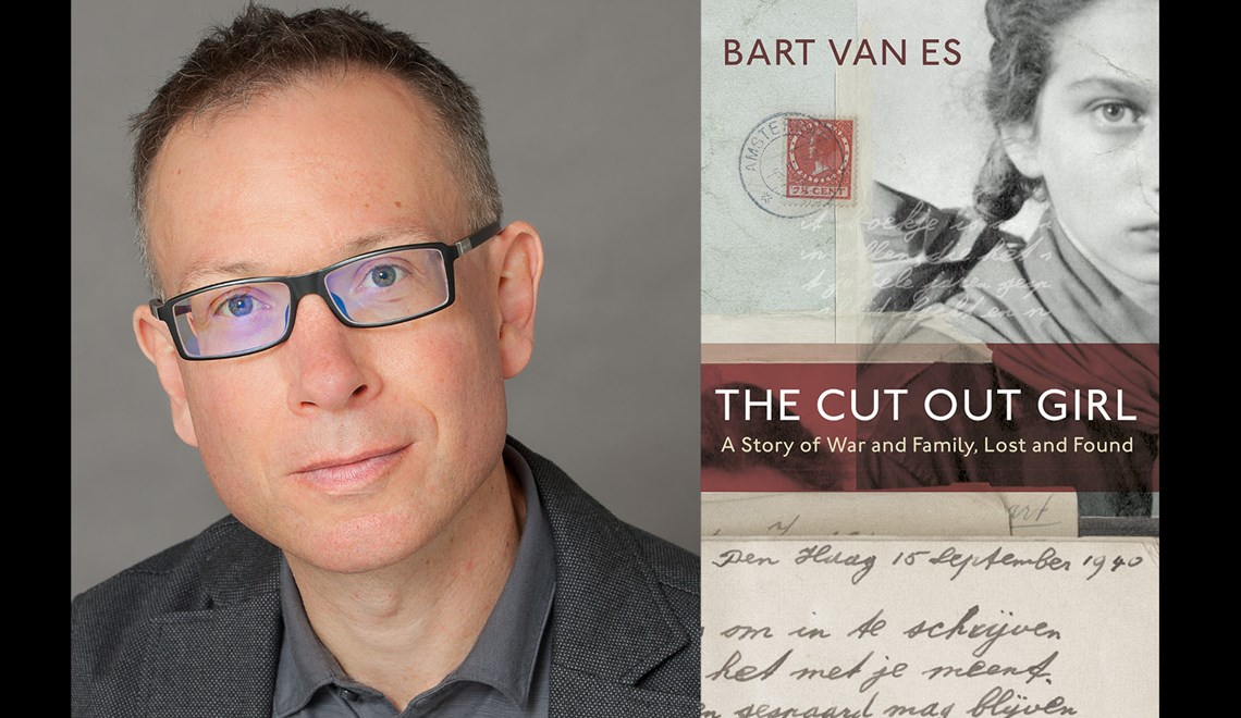 Bart Van Es' headshot alongside the cover of his book The Cut Out Girl