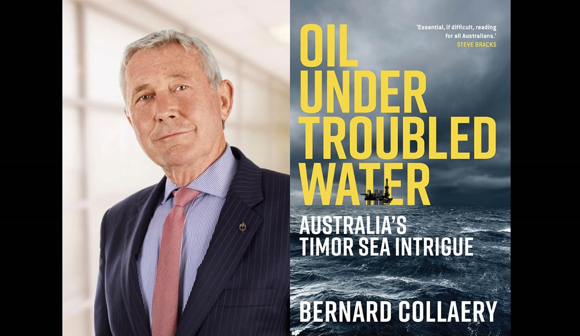 Bernard Collaery alongside the cover of his book Oil Under Troubled Water