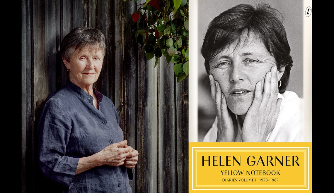 Helen Garner's headshot alongside the cover of her book Yellow Notebook