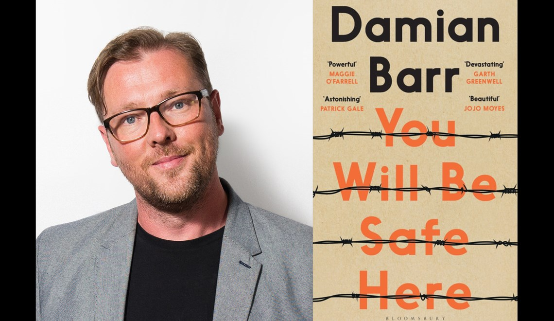 Damian Barr's headshot alongside the cover of his book You will be safe here