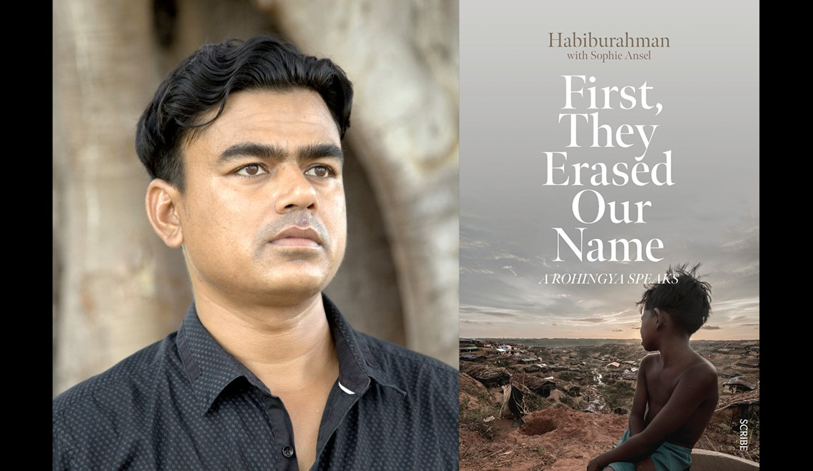 Habib's headshot alongside the cover of his book First, They Erased our Name