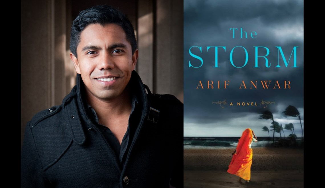 Arif Anwar's headshot alongside the cover of his book The Storm