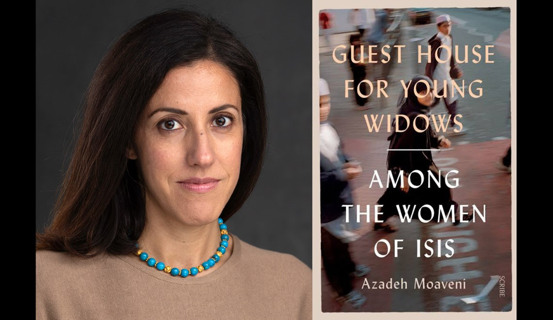 Azadeh Moaveni's headshot alongside the cover of her book Guest House for young widows