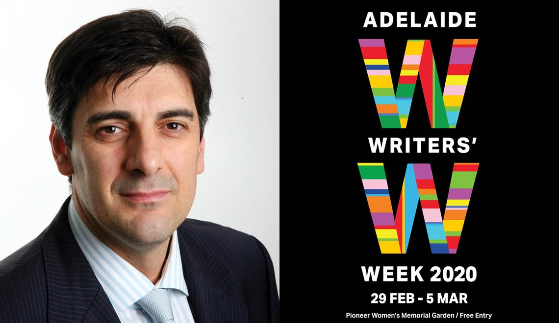 George Megalogenis' headshot alongside the Adelaide Writers' Week logo