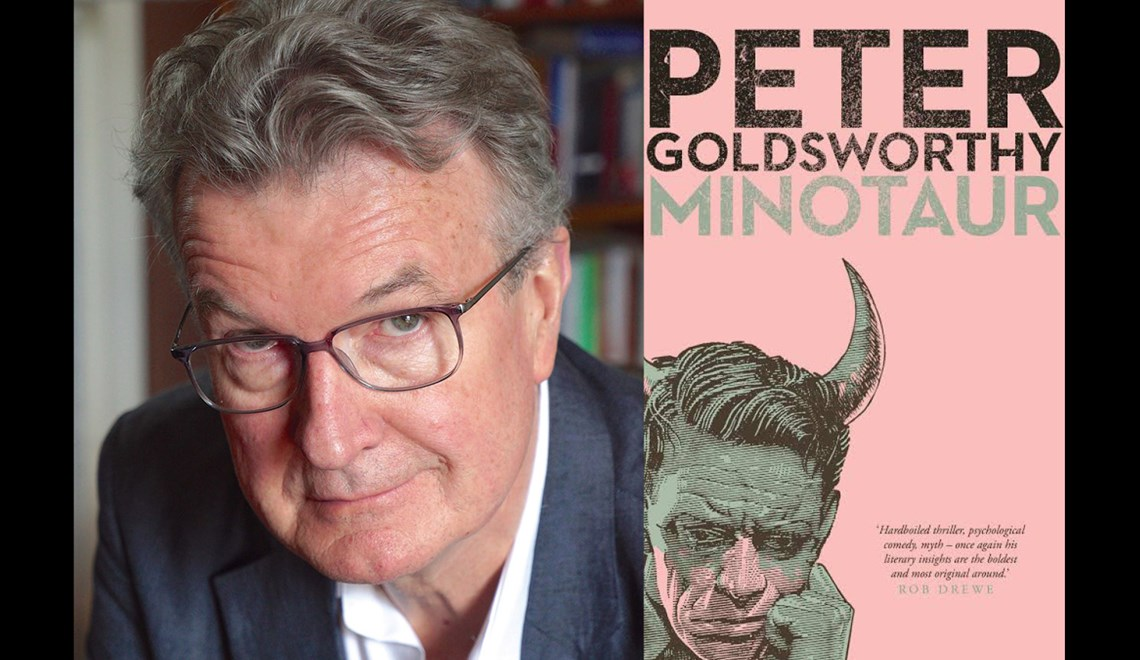 Peter Goldsworthy's headshot alongside the cover of his book Minotaur
