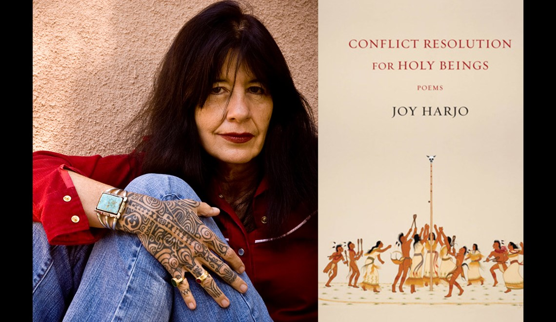 Joy Harjo's headshot alongside the cover of her book Conflict Resoutions for Holy Beings