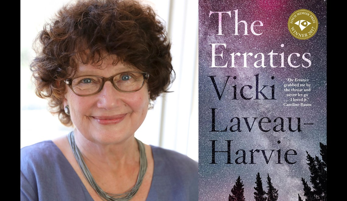 Vicki Laveau-Harvie's headshot alongside the cover of her book The Erratics